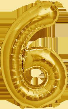 6 Gold Foil Number 16in/40cm