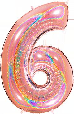 6 Megaloon Rose Gold Glitter Holographic Foil Number 40in/100cm