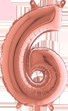 6 Rose Gold Foil Number 40in/100cm