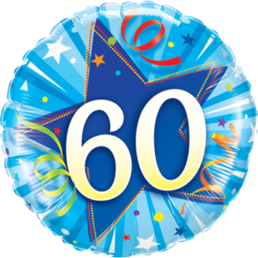 60 Shining Star Bright Blue Foil Round 18in/45cm
