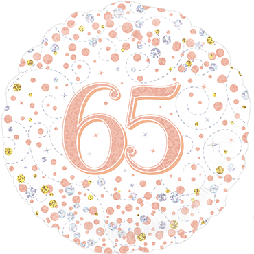 65th Sparkling Fizz Birthday White and Rose Gold Holographic Foil Round 18in/45cm