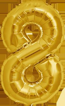8 Gold Foil Number 16in/40cm