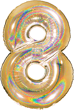 8 Megaloon Gold Glitter Holographic Foil Number 40in/100cm