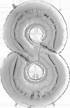 8 Megaloon Silver Foil Number 40in/100cm