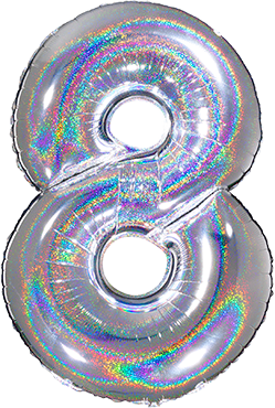 8 Megaloon Silver Glitter Holographic Foil Number 40in/100cm