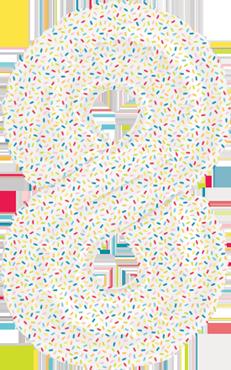 8 Sprinkles Foil Number 16in/40cm