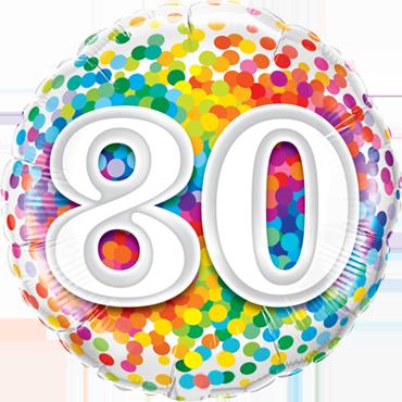 80 Rainbow Confetti Foil Round 18in/45cm