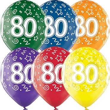 80th Birthday Crystal Green, Crystal Yellow, Crystal Orange, Crystal Royal Red, Crystal Quartz Purple and Crystal Blue Assortment (Transparent) Latex Round 12in/30cm