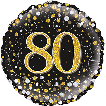 80th Sparkling Fizz Birthday Black and Gold Holographic Foil Round 18in/45cm