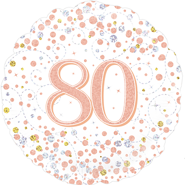 80th Sparkling Fizz Birthday White and Rose Gold Holographic Foil Round 18in/45cm