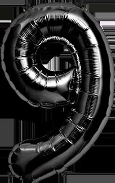 9 Black Foil Number 34in/86cm