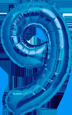 9 Blue Foil Number 16in/40cm