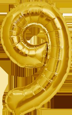 9 Gold Foil Number 16in/40cm