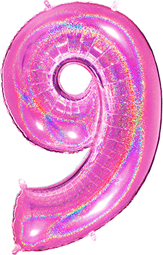 9 Megaloon Fuchsia Glitter Holographic Foil Number 40in/100cm
