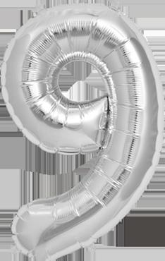 9 Silver Foil Number 34in/86cm