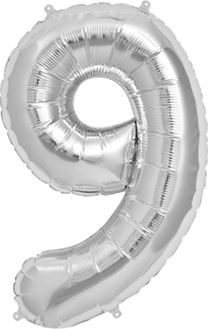 9 Silver Foil Number 7in/18cm