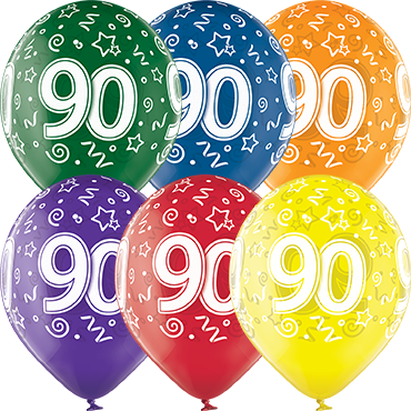 90th Birthday Crystal Green, Crystal Yellow, Crystal Orange, Crystal Royal Red, Crystal Quartz Purple and Crystal Blue Assortment (Transparent) Latex Round 12in/30cm