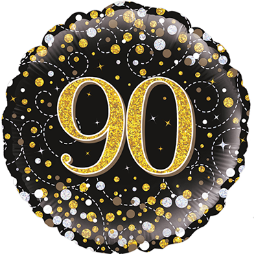 90th Sparkling Fizz Birthday Black and Gold Holographic Foil Round 18in/45cm