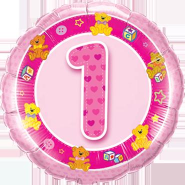 Age 1 Pink Teddies Foil Round 18in/45cm