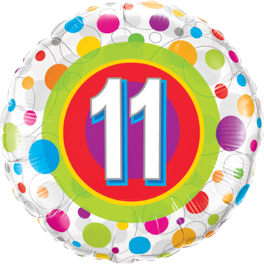 Age 11 Colourful Dots Foil Round 18in/45cm