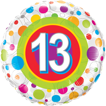 Age 13 Colourful Dots Foil Round 18in/45cm