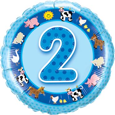 Age 2 Blue Farm Animals Foil Round 18in/45cm