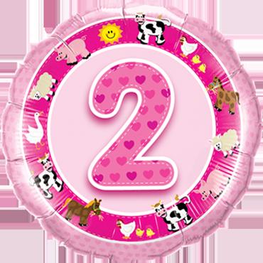 Age 2 Pink Farm Animals Foil Round 18in/45cm