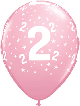 Age 2 Stars Standard Pink Latex Round 11in/27.5cm