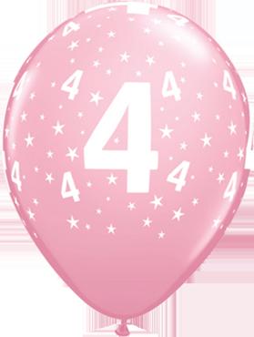 Age 4 Stars Standard Pink Latex Round 11in/27.5cm