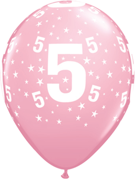 Age 5 Stars Standard Pink Latex Round 11in/27.5cm