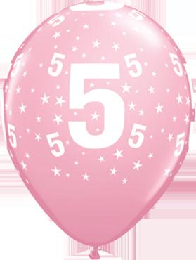 Age 5 Stars Standard Pink Latex Round 11in/27.5cm