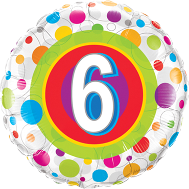 Age 6 Colourful Dots Foil Round 18in/45cm