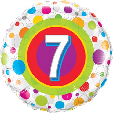 Age 7 Colourful Dots Foil Round 18in/45cm