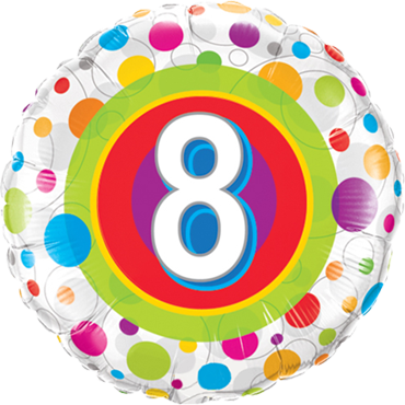 Age 8 Colourful Dots Foil Round 18in/45cm