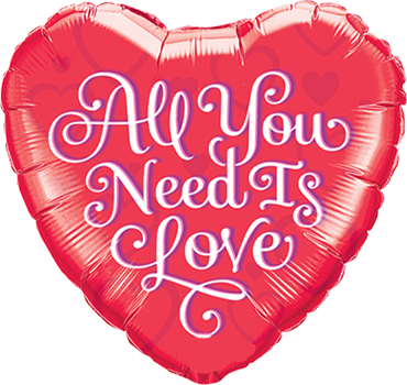 All You Need Is Love Red Foil Heart 18in/45cm