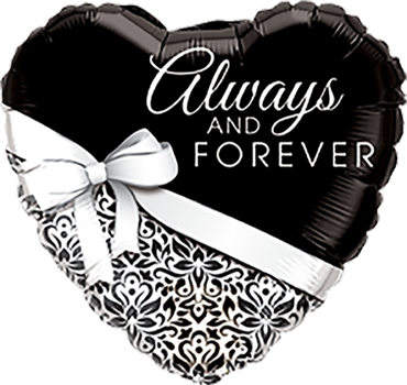 Always and Forever Silver Foil Heart 18in/45cm