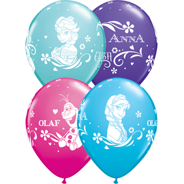 Anna, Elsa and Olaf Fashion Wild Berry, Fashion Caribbean Blue, Fashion Purple Violet and Fashion Robins Egg Blue Assortment Latex Round 11in/27.5cm