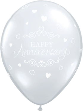 Anniversary Classic Hearts Crystal Diamond Clear (Transparent) Latex Round 11in/