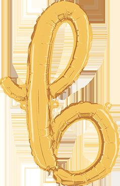 B Script Gold Foil Letter 24in/61cm