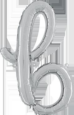 B Script Silver Foil Letter 24in/61cm