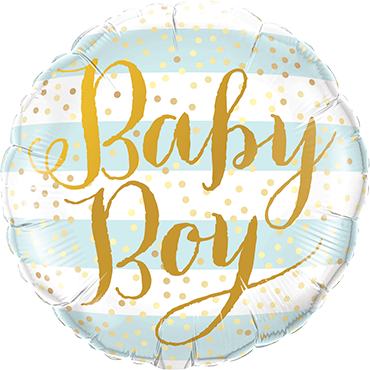 Baby Boy Blue Stripes Foil Round 18in/45cm