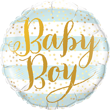 Baby Boy Blue Stripes Foil Round 9in/22.5cm