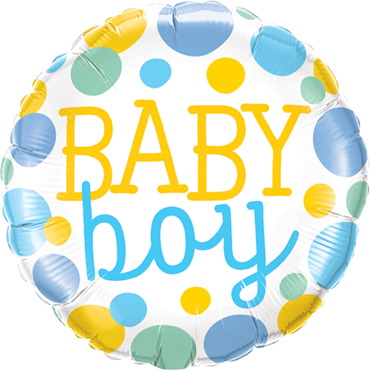 Baby Boy Dots Foil Round 18in/45cm