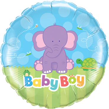 Baby Boy Elephant Foil Round 18in/45cm