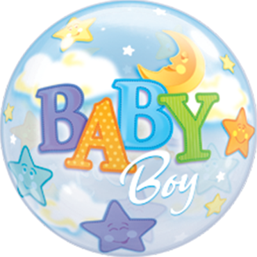 Baby Boy Moon and Stars Single Bubble 22in/55cm