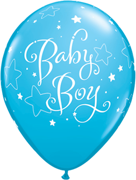 Baby Boy Stars Fashion Robins Egg Blue Latex Round 11in/27.5cm