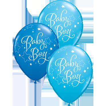 Baby Boy Stars Standard Dark Blue and Fashion Robins Egg Blue Assortment Latex Round 11in/27.5cm