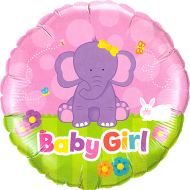Baby Girl Elephant Foil Round 18in/45cm
