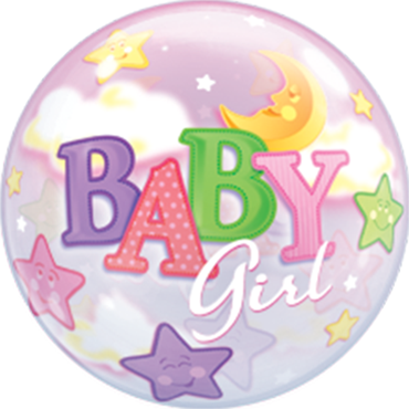 Baby Girl Moon and Stars Single Bubble 22in/55cm