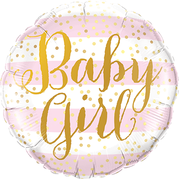 Baby Girl Pink Stripes Foil Round 9in/22.5cm